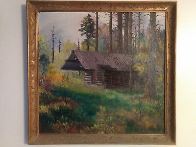 """vintage painting of """"A Cabin In The Woods"""""""