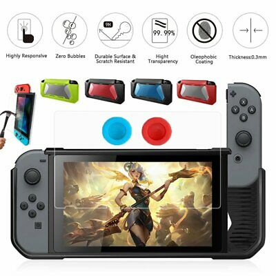 For Nintendo Switch TPU Case+Tempered Glass Screen Protector+Grips Caps Protect