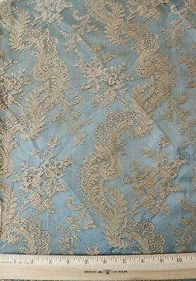 Antique Ice Blue French c1870-80 Home Dec Silk Jacquared Fabric~Floral-Lace