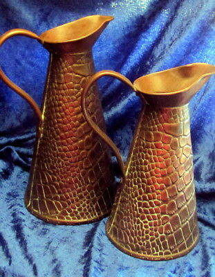 Antique Jugs Original Pair Of Brass Ornate Alligator Embossed Ewers