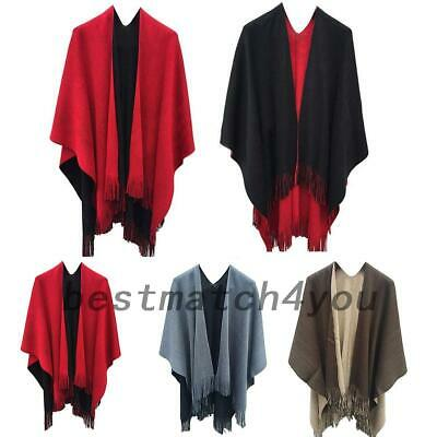 Stylish Women Lady Wrap Shawl Cape Soft Poncho Winter Warm Scarf Knit Tassel