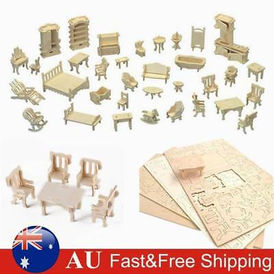 34Pcs Set Vintage Wooden Miniature Furniture Dolls House Kids DIY Toys Gift Play