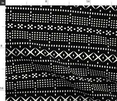 Mudcloth Dot Line Black White Geo Holli Fabric Printed by Spoonflower BTY