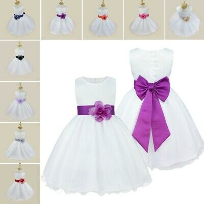 Toddler Girls Satin Bodice Communion Flower Girl Wedding Party Pageant Dress