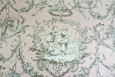 Mailland Bachette Rose French Cotton Toile 280cm wide Curtain Fabric