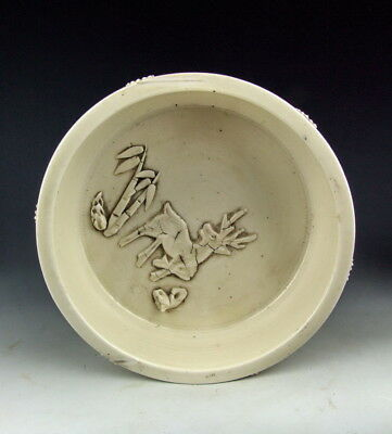 China Antique Dehua Ware Porcelain Brush Washer W Applique Deco
