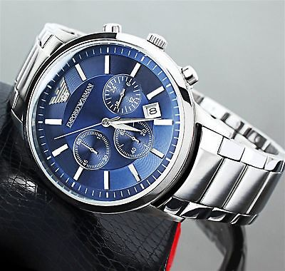 ⌚New Emporio Armani Mens Ar2448 Watch Blue Dial Stainless Steel✅