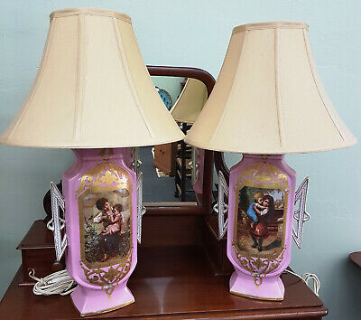 Two Antique Pink Porcelain Vases Converted into Matching Lamps – 90 Years Old