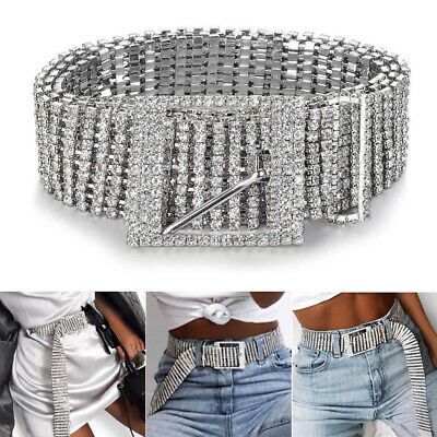 Women Silver Crystal Wide Chain Belt Full Diamonde Glitter Rhinestone Waistband