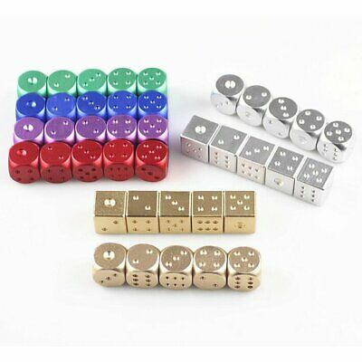 High Quality 5pcs Aluminum Poker Solid Dominoes Metal Dice Game Portable NJ
