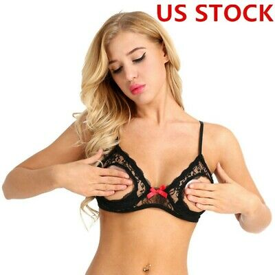dec47cac4045c Women Sheer Lace Bra Top Open Cup Bralet Bustier Bare Breasts Nipples  Underwear