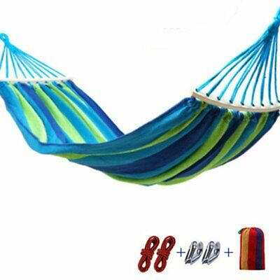 Portable Outdoor Hammock Garden Camping Swing Canvas Stripe Hang Bed ❃⚡