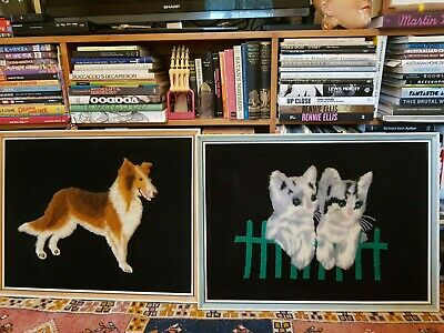 Vintage framed wool art, hand hooked kitsch cats and dogs on velvet c1960s-1970s