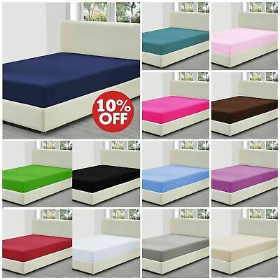 Dyed Cotton Blend Fitted Flat Valance Bed Sheet Single Double King+ Pillow Cases
