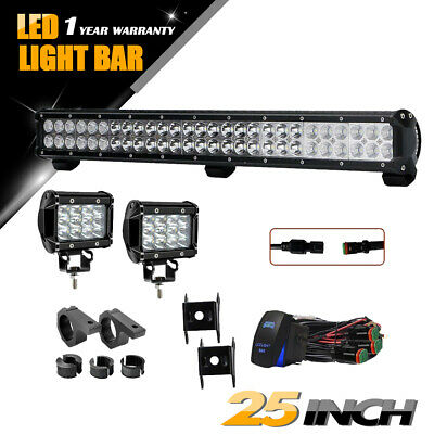24/25''inch 162W Spot Flood Combo LED Light Bar+36W Pods Offroad Driving For ATV