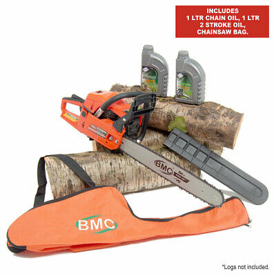 "BMC 20"" 55cc Easy Start Petrol Chainsaw with Chain Oil, 2 Stroke Oil & Carry Bag"