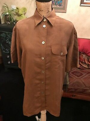 7f094c2d562ad GIRA PUCCINO Ladies Brown Pure Silk Short Sleeve Blouse Shirt UK Size 16  Eur 42