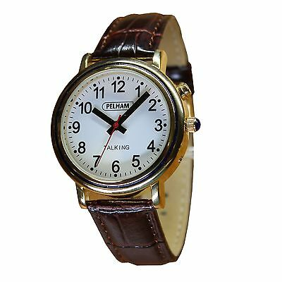 Mens Talking watch, Real English Voice, Brown Croc leather effect strap