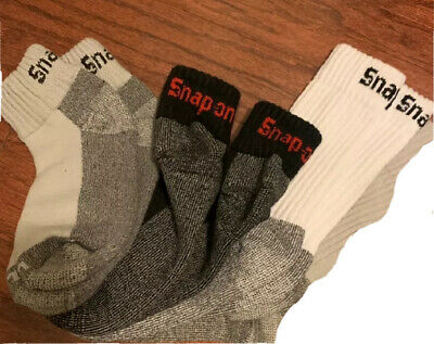 4 Pairs Men's Snap On Ankle Crew Socks L ~ FREE Shipping ~ MADE IN USA   New!
