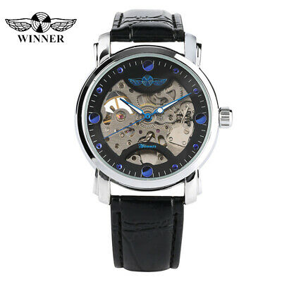 WINNER Mechanical Automatic Leather Strap Transparent Skeleton Classic Watch
