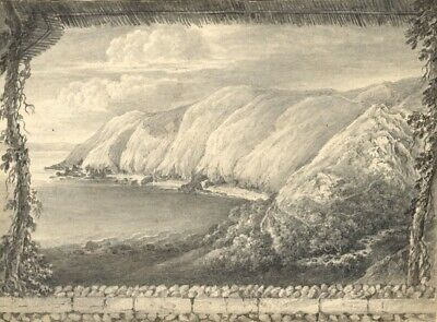 Mrs Levett, Picturesque Coastal View - Early 19th-century grisaille painting