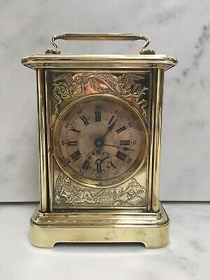 "Large ""peep O Day"" Brass Carriage Clock"