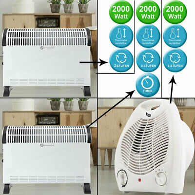 2000W heating fan thermostat adjustable convector turbo timer stand heater new