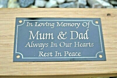 "Black Metal Memorial Bench Plaque Grave Sign Personalised Engraved 4""X2"" Or 5X2"""