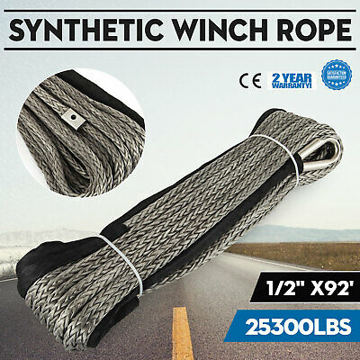 92ft*1/2 Dyneema Rope Winch cable 25300LBS UHMWPE Synthetic Fiber