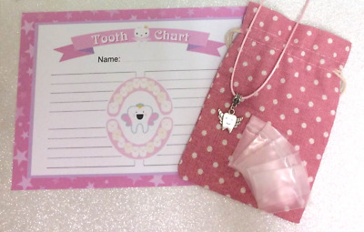 Tooth Fairy lost Tooth Girls set-Certificate*Pouch*Pendant*Mini Tooth bags