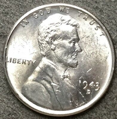 *1943 D* Uncirculated BU Steel Lincoln Wheat Cent Penny. R681 *Free Ship*