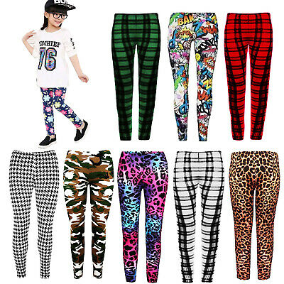 Girls Pants Leggings Kids Trousers Children Plain Cotton Printed Capri  Age 7-13