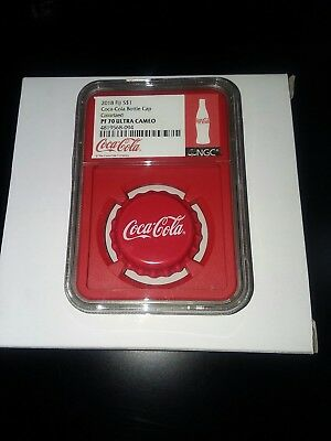 2018 Fiji Coca- Cola Bottle Cap Colorized Proof 70 Ultra Cameo
