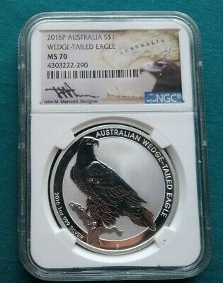 2016P Australia $1 Wedge Tailed Eagle .999 Silver Coin NGC MS70 Mercanti #1590