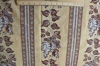 """French Antique c1840-50 Cotton Lilac Stripe Hand Blocked Fabric Panel~82""""X27""""*"""