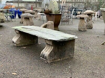 A Superb 19th century marble and slate garden seat bench Rustic