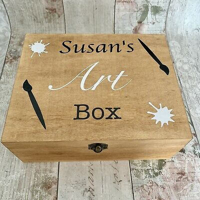 Personalised Rustic Wooden Art Storage Box Gift Paints Brushes Wood Artist