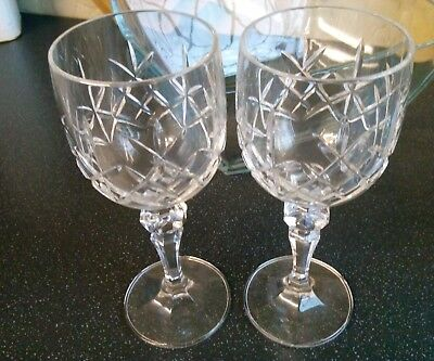 Lead  Crystal cut glass goblet wine glasses