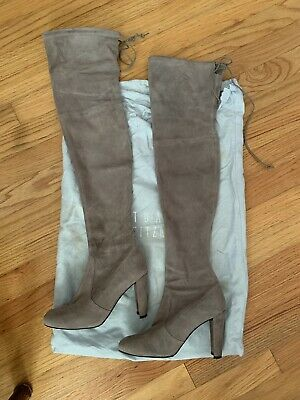 67e1f219bb6 STUART WEITZMAN HIGHLAND Over the Knee Topo Grey Suede Boots Size 6 ...