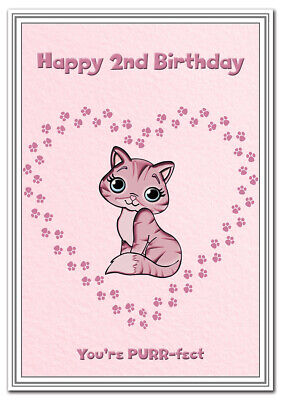 2nd Birthday Cards for Girls - 2 year old Girl Age Two Baby Card - Best Quality