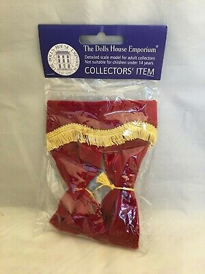 Dollhouse miniature red and gold curtains new one inch scale
