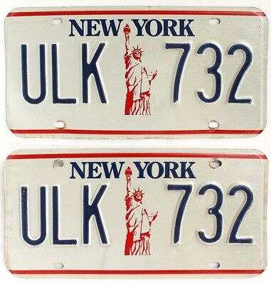 "New York 1986-2000 ""Statue of Liberty"" License Plate Pair, ULK 732"