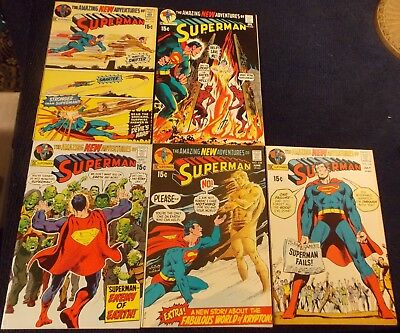 Early Bronze Superman Neal Adams covers,235,236,237,238(no Adams),240, F+ to VF+