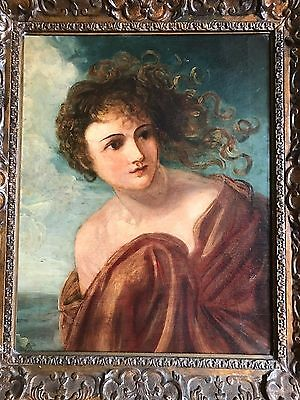 Italian 1700's Original Oil Painting of a Greek Myth Muse