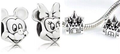 Disney Mickey and Minnie Mouse Silver Charm Bead 'pandora And Disney Castle