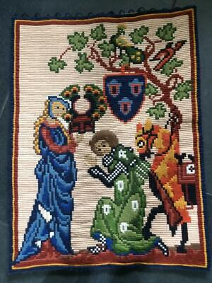 Vintage Bargello Needlework Hanging of Medieval Knight and His Lady