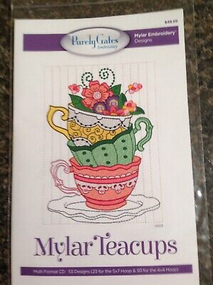 Purely Gates Mylar Teacups with Applique Embroidery Software