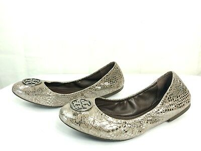 d23f81d2cf75 Tory Burch Heidi Women s Metallic Pewter Snake Leather Ballet Flats US 8.5 M