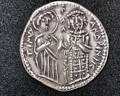 BYZANTINE ANDRONICUS PALAEOLOGUS SILVER COIN 1.94gr 19mm /805/