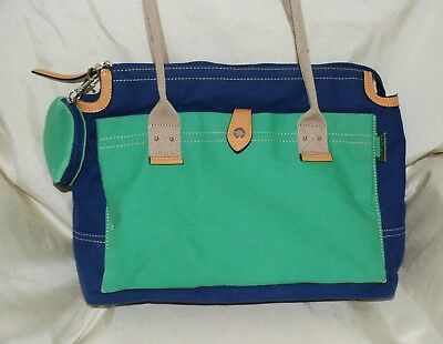 3571b810395a Franco Sarto Blue Green Cotton Canvas Tote Hand Bag Carry All Purse Nice  Lightwt